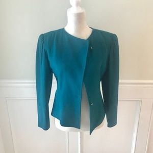 EMANUEL UNGARO Made in Italy Teal Wool Blazer 8